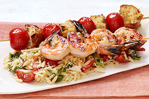 Orzo Pasta with Shrimp Bruschetta