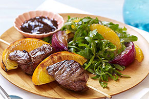 Spiced Lamb Kabobs & Orange, Onion & Arugula Salad