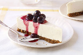 Frozen Lemon Cheesecake with Blueberry Drizzle
