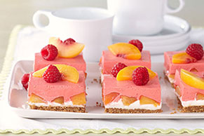 Creamy Layered Peach Squares