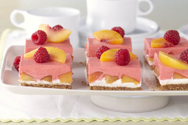 Creamy Layered Peach Squares Image 1