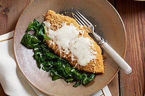 Crispy Mozzarella Chicken with Garlic Spinach