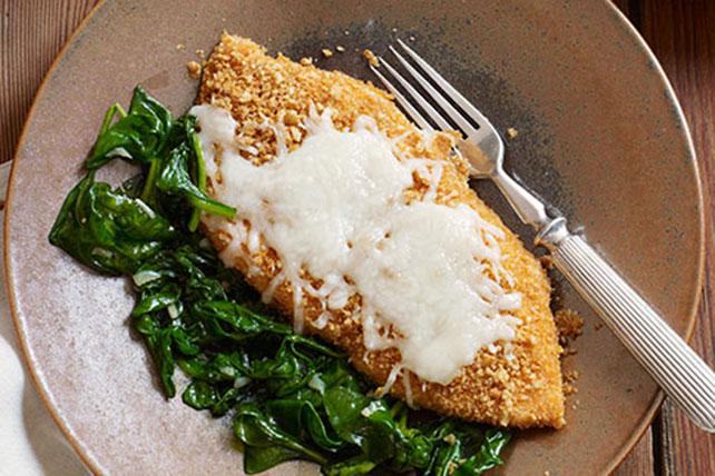 Crujiente pollo a la mozzarella con espinaca y ajo Image 1