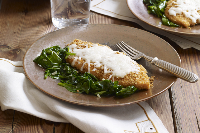 Crispy Mozzarella Chicken with Garlic Spinach Image 1
