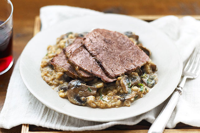 Braised Beef with Mushroom-Barley Risotto Image 1