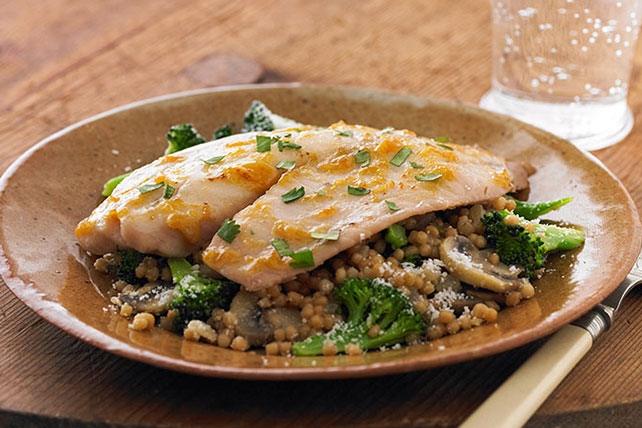 Mustard-Apricot Glazed Tilapia with Vegetable Couscous Image 1