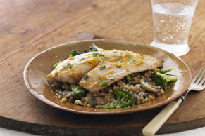 Mustard-Apricot Glazed Tilapia with Vegetable Couscous