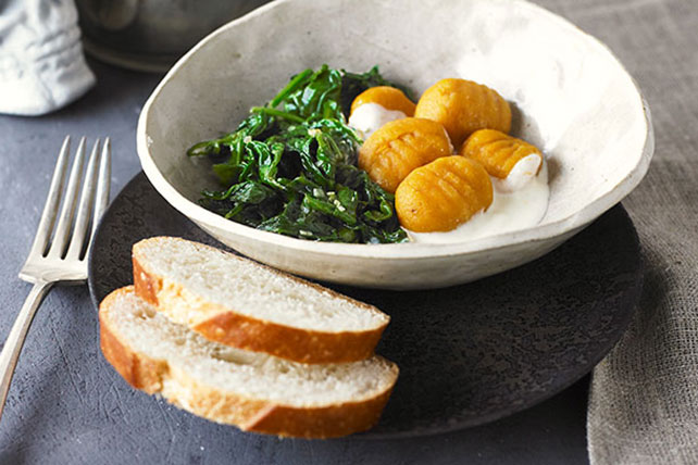 Sweet Potato Gnocchi with Citrus Cream and Wilted Spinach