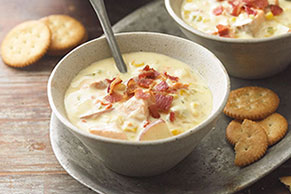 Salmon & Corn Chowder with Bacon