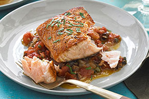 Pan-Seared Salmon Puttanesca