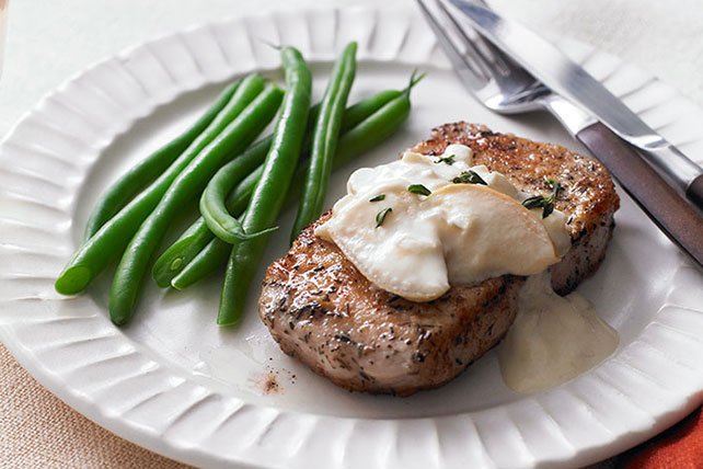 Pork Chops with Apples & Creamy Mustard Sauce Image 1
