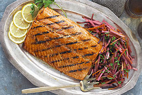 Grilled Salmon with Honey-Glazed Parsnips & Carrots