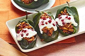 Chiles Rellenos with Cranberry-Almond Picadillo