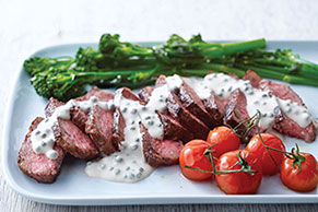 Steak with Peppercorn Sauce