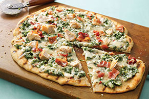 Grilled Spinach-Alfredo Pizza