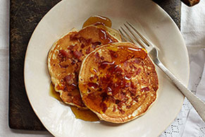 Sour Cream & Bacon Pancakes with Warm Orange-Maple Syrup