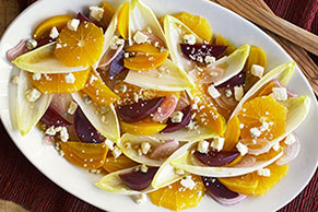 Roasted Beet Salad with Oranges, Gorgonzola and White Balsamic Reduction
