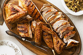 Grilled Spatchcock Turkey with Cranberry-Barbecue Sauce