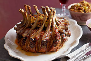 Pork Crown Roast with Apple-Pecan Stuffing and Gravy