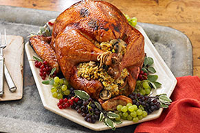 Brined Sage Turkey with Mushroom Stuffing