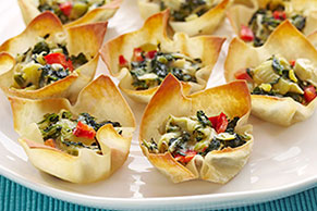 Warm Spinach & Artichoke Cups