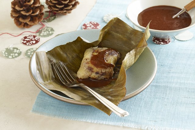 Black Bean Tamales with Mole Image 1