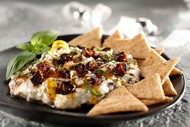 Citrus-Ricotta Dip with Figs, Honey & Basil Image 1