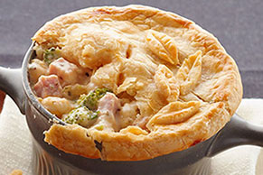 Ham Pot Pie with Cheese and Veggies