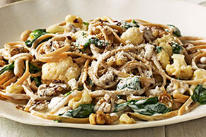 Creamy Linguine with Pan-Roasted Cauliflower, Spinach & White Beans