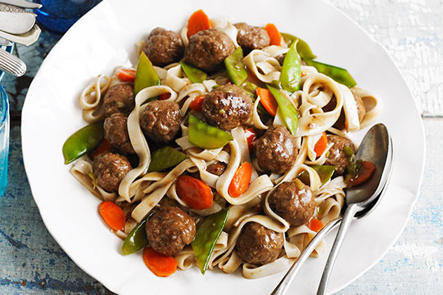 Asian Meatballs with Lo Mein Noodles