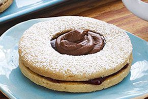 Chocolate-Topped Linzer Cookies
