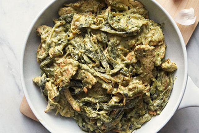 Chicken Strips in Creamy Rajas Poblanas Image 1