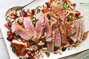 Seared Tuna with Italian White Bean Salad
