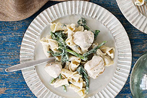 Creamy Chicken Pasta with Broccoli Rabe