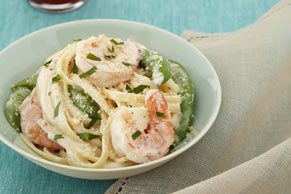 Creamy Chive & Onion Shrimp Linguine