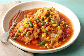Ham & Cheese Rice Cakes with Tomato-Vegetable Sauce
