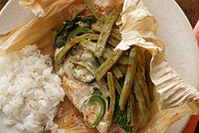 Catfish & Nopales in Corn Husks