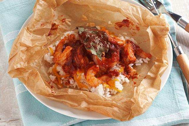 Ataditos de arroz con camarones al achiote Image 1