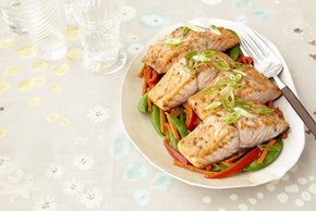 Sesame Salmon with Stir-Fried Vegetable Medley