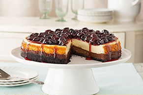 Cherry-Glazed Black Bottom Cheesecake Image 1