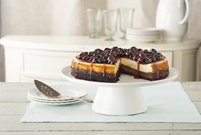 Cherry-Glazed Black Bottom Cheesecake