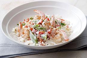 Cremoso arroz con camarones