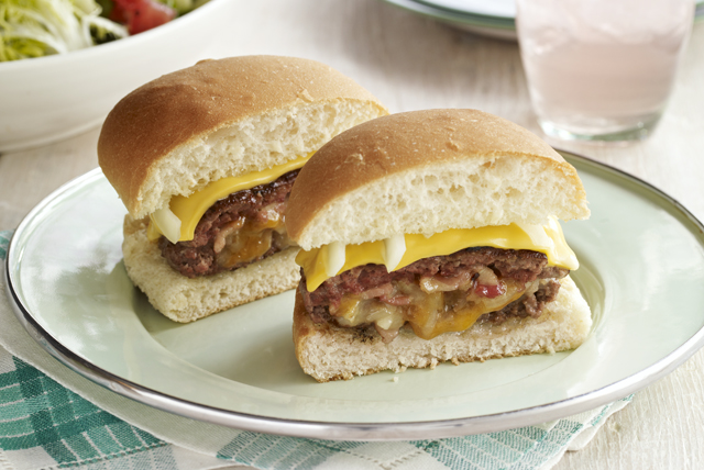 Stuffed Burgers with Bacon, Double Cheese & Onion