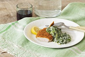 Pork Chops Milanese with Creamed Spinach