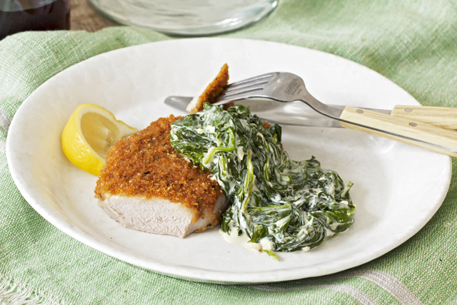 Pork Chops Milanese with Creamed Spinach Image 1
