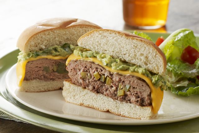 Jalapeño-Stuffed Cheeseburgers with Guacamole Topping Image 1