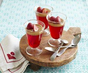 Strawberry Gelatin with Dulce de Leche Sauce