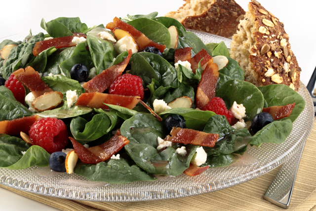 Turkey Bacon Summer Spinach Salad Image 1