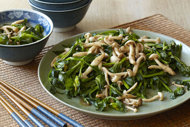 Wok-Fried Snow Pea Tips & Mushrooms Image 1