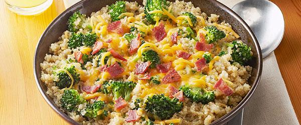 Quinoa with Broccoli, Cheese & Bacon